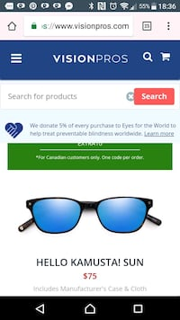 blue wayfarer sunglasses with black frames screenshot Surrey, V3T 5X5
