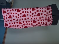 Pink w/ Red Hearts Terry with Draw String Bath Wrap & Slippers - New