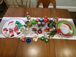 Christmas decoration, ornaments, tablecloth, beads