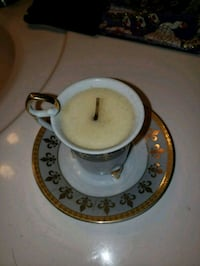 white and gold ceramic teacup with saucer LaPlace, 70068
