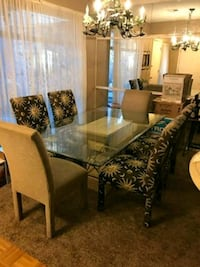 rectangular glass top table with six chairs dining Yukon, 73099