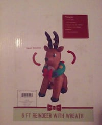 6 ft lighted reindeer with wreath White Pine, 37890