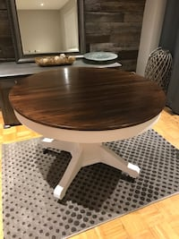 Solid oak dining table (square base)