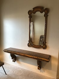 brown wooden mounted console table