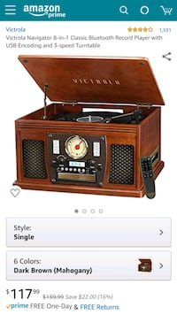 Victrola Navigator 8-in-1 Bluetooth Record Player with USB Encoding Hanover, 21076