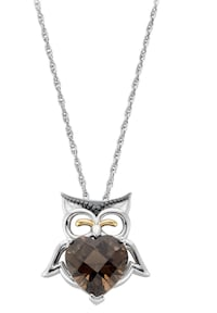 Smoky Quartz Heart Owl Pendant in Sterling Silver