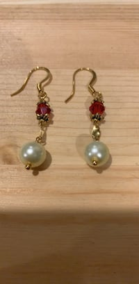 Pair of silver and red hook earrings