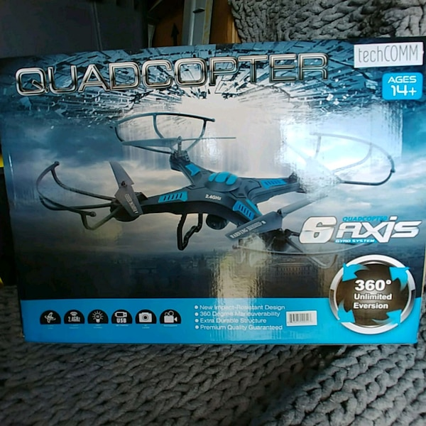 blue and black RC Drone - hd camera ready