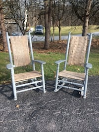 Gray wooden rocking chair set  weaved backs & seats 1 chair has broken Spring Grove, 17362