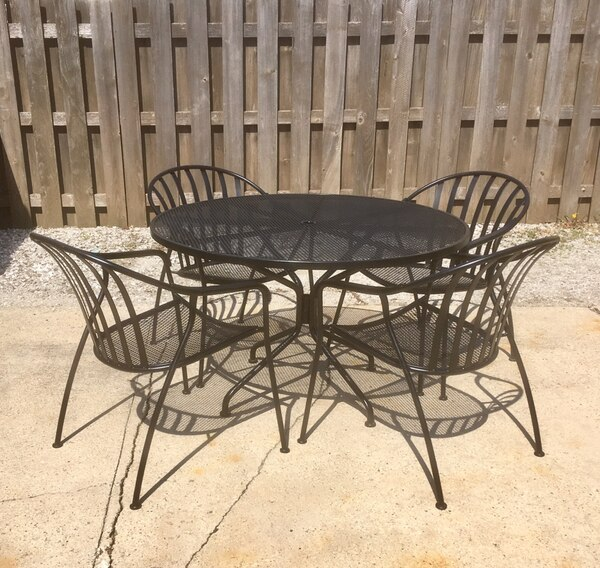 Woodard Valencia Black Wrought Iron Patio Furniture 4 Chairs Table