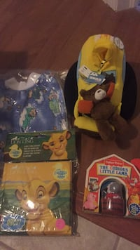 New Baby gift, great to make baby Haley or shower gift, fisher Price little lamb book with removable lamb (was $9.95), baby gund toy with music and lights (probably $20), Hand made big and lion king A,B, C bath book. Only $20 FIRM for all! Laval, H7Y 2C1