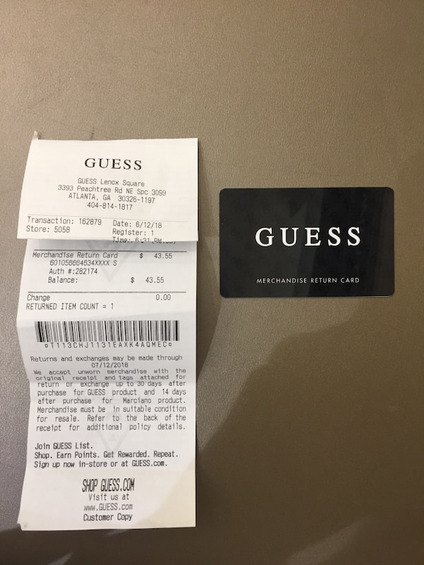 Used Guess Store Credit 43 For 35 For Sale In Atlanta Letgo