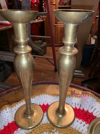 5 piece set solid brass candle holders  Elyria, 44035