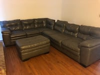 Grey leather sectional sofa with ottoman Germantown, 20874