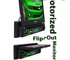 Car radio with flip out screen