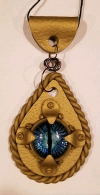 Hand made polymer clay hammered gold dragon eye pendant  Monmouth, 97361