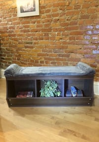 Wooden bench with storage compartments. Paid $190 small damage on top of bench easily can be hidden with throw pillows. No other damages on bench. 8/