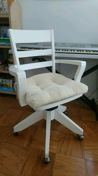 white wooden framed white padded chair Bethesda, 20814