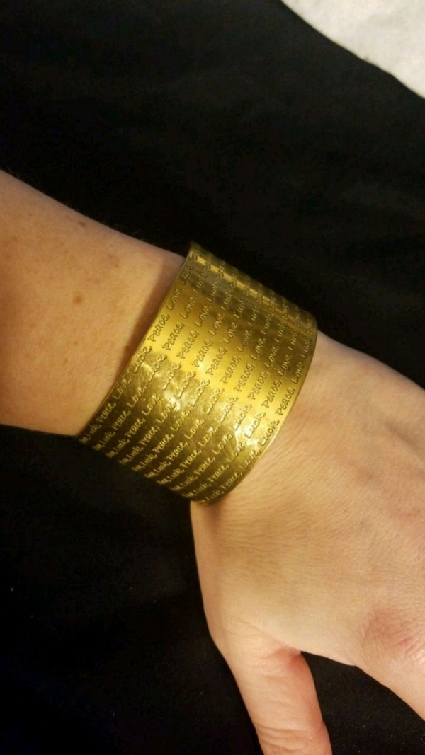 Love, Luck Peace gold bracelet cuff