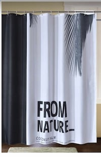 New Fabric Shower Curtain Black and White, Waterproof Mold Resistant