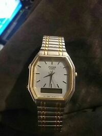 square silver analog watch with link bracelet