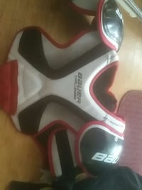 white , red , and black Bauer shoulder pad Langley Township, V4W 2M8