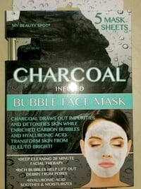 **NEW** Charcoal Facemask. 5 sheets. 2206 mi
