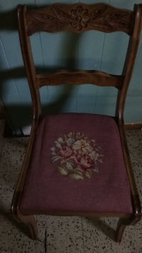 Brown wooden framed red padded chair Kingston, K7M 2Y7