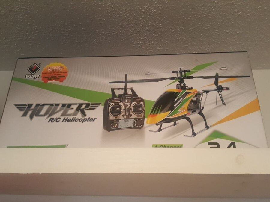 yellow and green Hover R/C Helicopter box