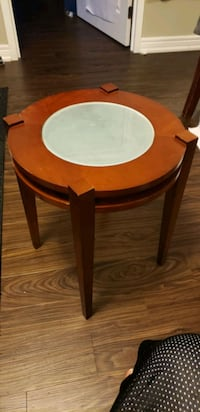 Smoked Glass Solid Wood Round Side Table