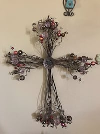 Beautiful embellished whimsy beaded wire cross