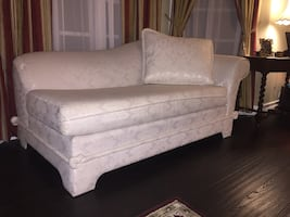 """Chaise Lounge ivory white. Length 74"""" width 39"""" height 34""""."""