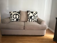 Beige fabric 2-seat sofa with throw pillows Glendale, 91208