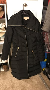 black bubble full-zip coat