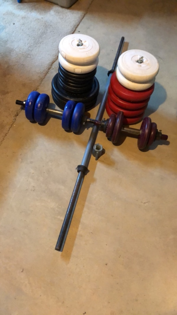 Weights-includes 2 dumbbell bars and 1 barbell. Total weight is 280 lbs