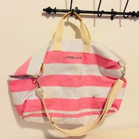 pink and white stripe pet carrier San Francisco, 94108
