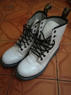 pair of white-and-black work boots