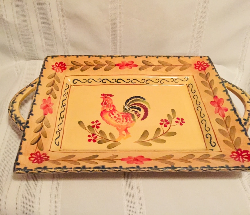 Photo Chanticleer Yellow Ceramic Rooster Tray 14.75x9.75
