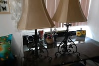 2 cast iron lamps & shades