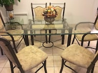 rectangular glass top table with 6 chairs dining set Laval, H7G 3W4