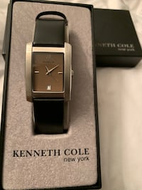 silver analog watch with black leather strap in box Washington, 20010