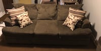 Brown fabric sofa AND loveseat with throw pillows. Plus removable ottoman Oak Lawn, 60453
