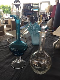 Caribbean Sea Blue & clear with design, $40 is for both Decanters St Catharines, L2M 4C4