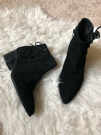 Women's black suede side-laced stack-heeled booties.  Size 8