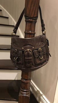 Brown leather crossbody bag COACH