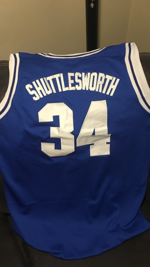 finest selection 6be35 9470d blue and white Shuttlesworth 34 jersey shirt
