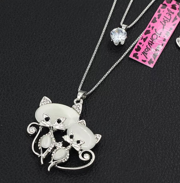 NEW Betsey Johnson lovely Chrystal opal CZ double cat pendant with long chain f8fb823f-18a3-493c-8cdd-c1d7076f1521