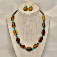 Genuine Tigers Eye Turquoise Beaded Necklace with Sterling Silver Clasp Ashburn