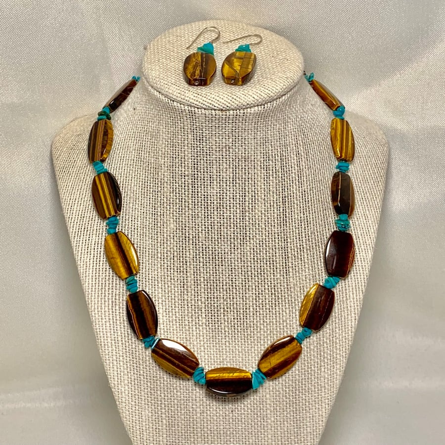 Genuine Tigers Eye Turquoise Bead Necklace with Sterling Silver Clasp