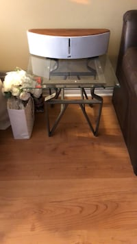 Rectangular glass top table with brown metal base Toronto, M9W